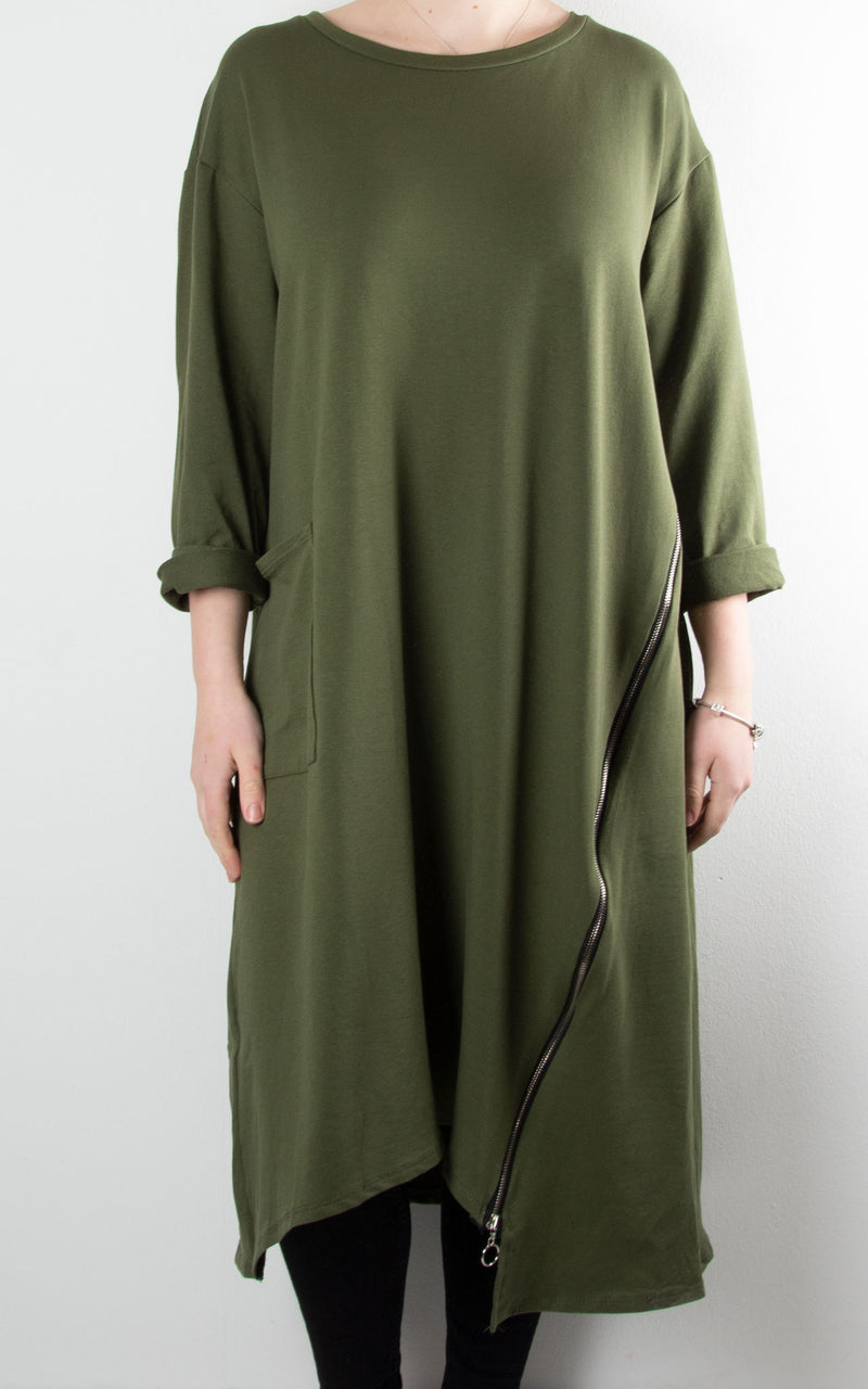 Darcy Zip Tunic Dress | Khaki