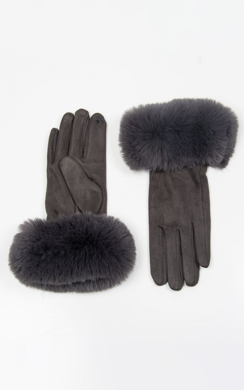 Faux Fur Gloves | Charcoal