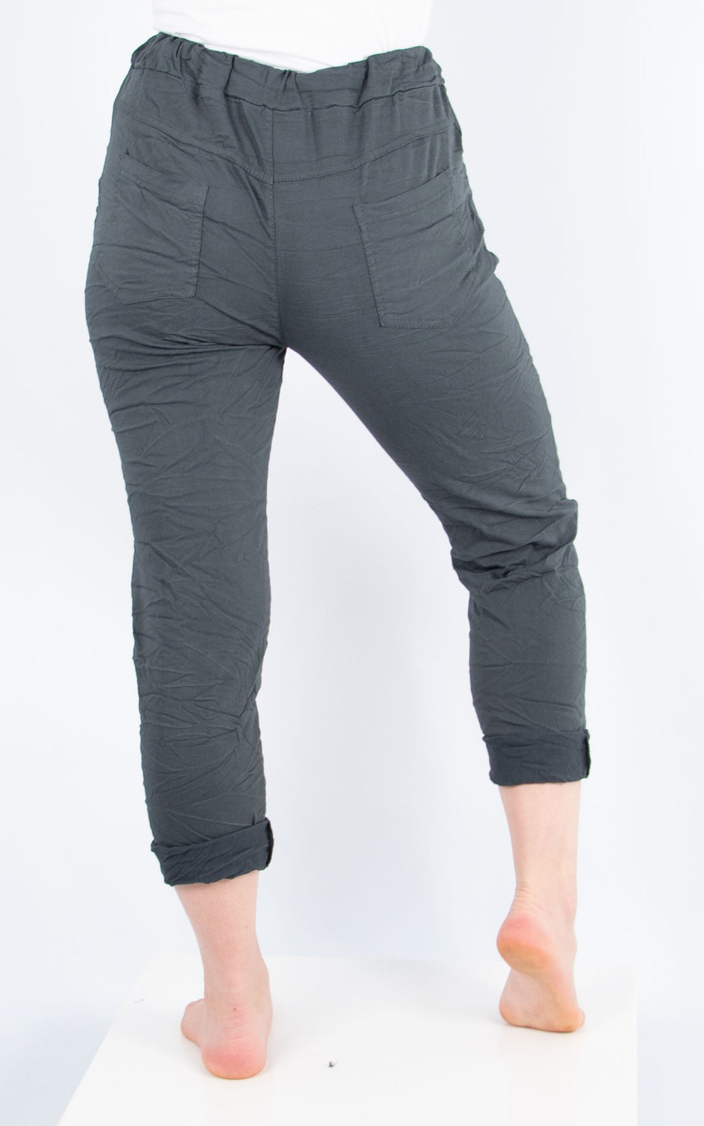 Dark Grey Plain Crinkle Jogger |  Made in Italy
