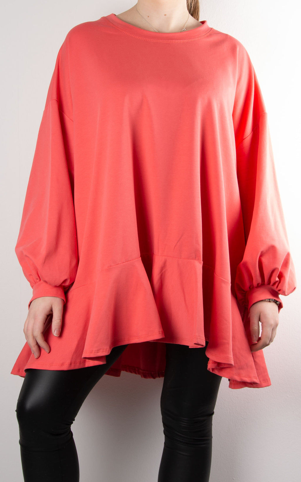 Dawn Frill Bell Sleeve Sweat | Coral