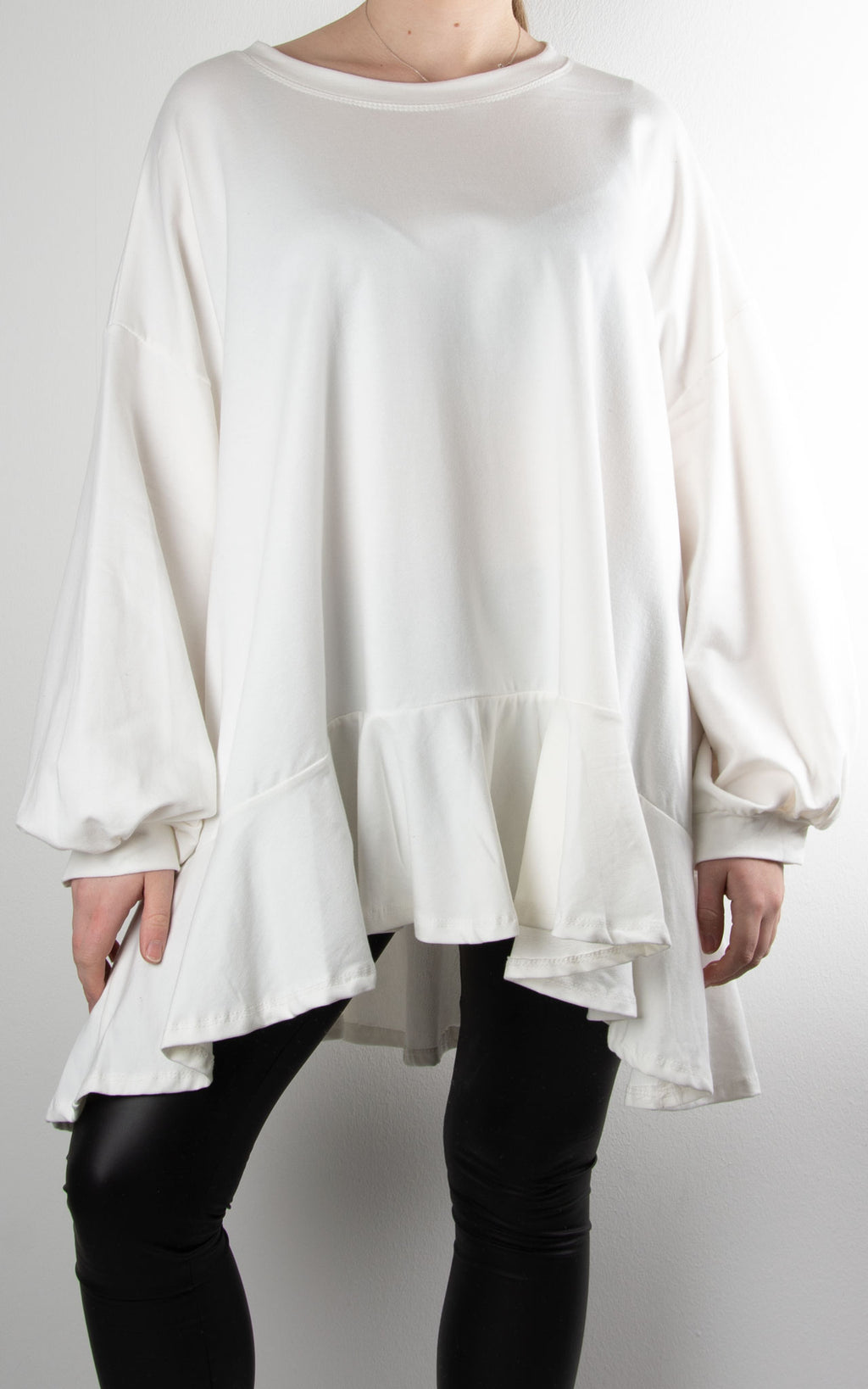 Dawn Frill Bell Sleeve Sweat | White