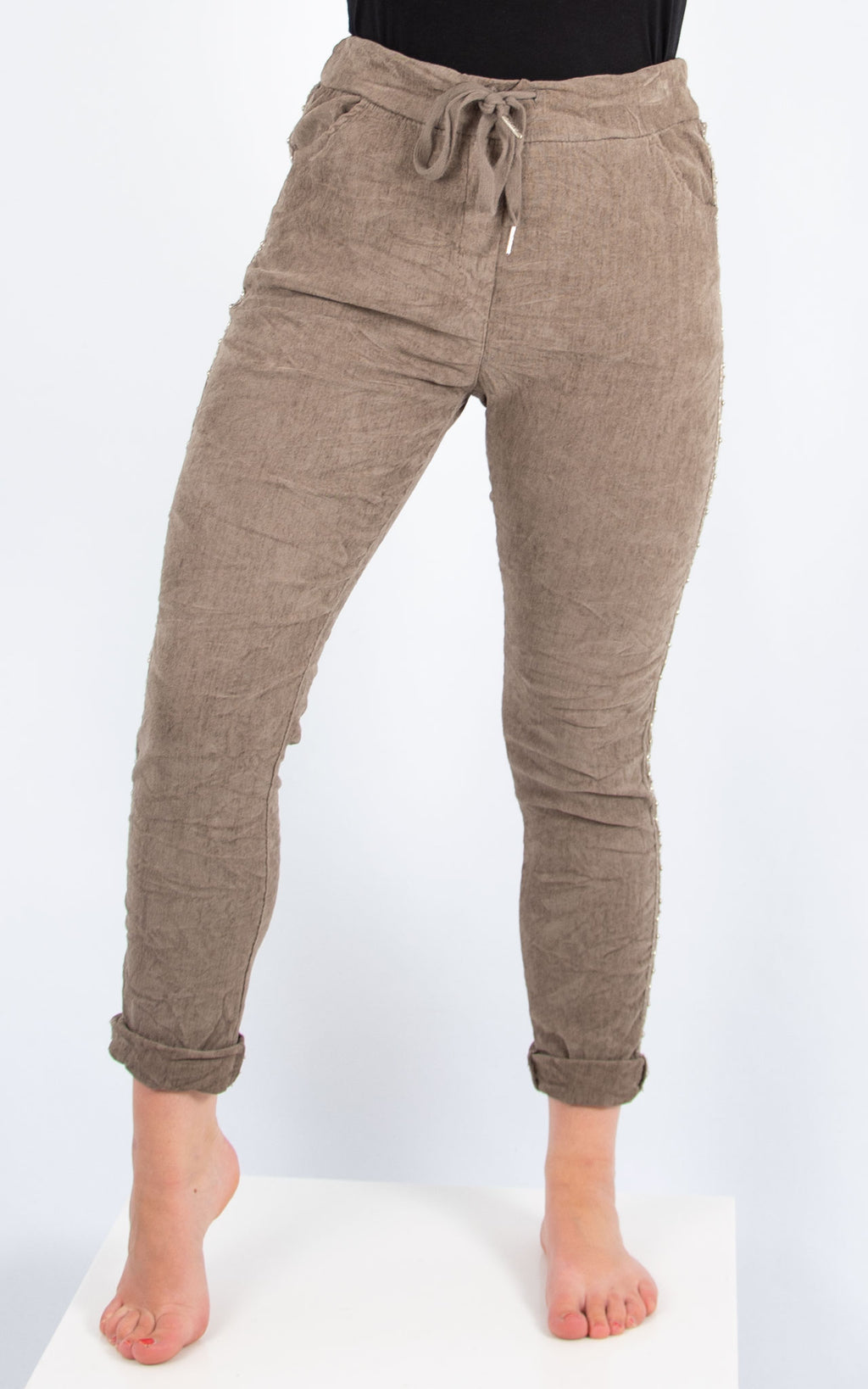 Diamante Trim Cord Jogger | Brown | Made In Italy