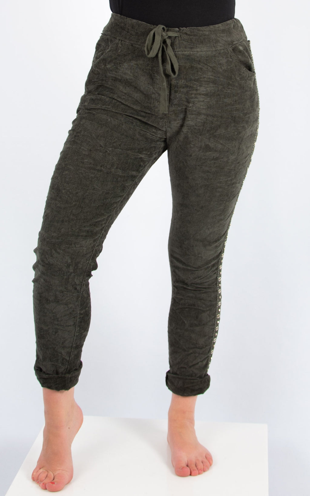 Diamante Trim Cord Jogger | Khaki | Made In Italy
