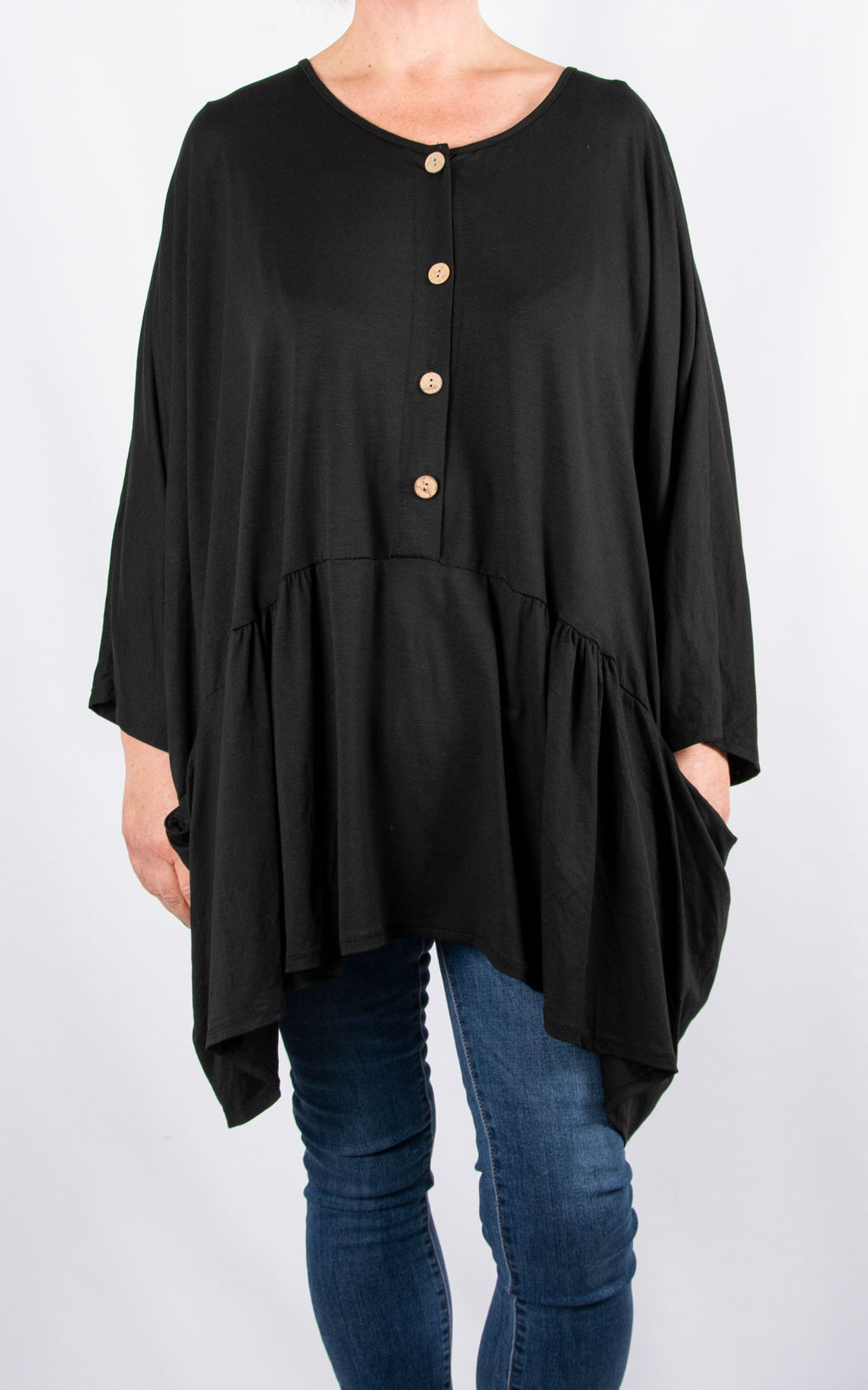 Donna Oversized Button Top|Black
