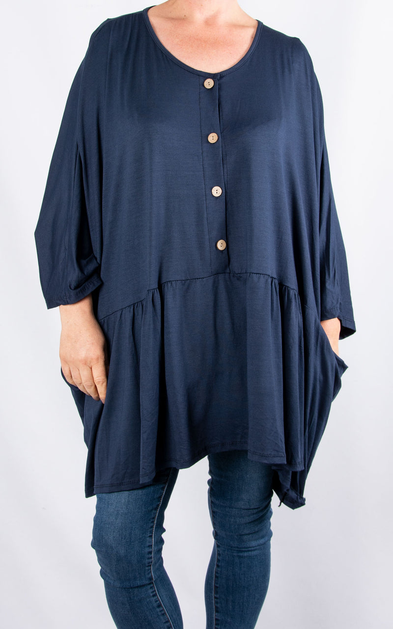 Donna Oversized Button Top|Navy