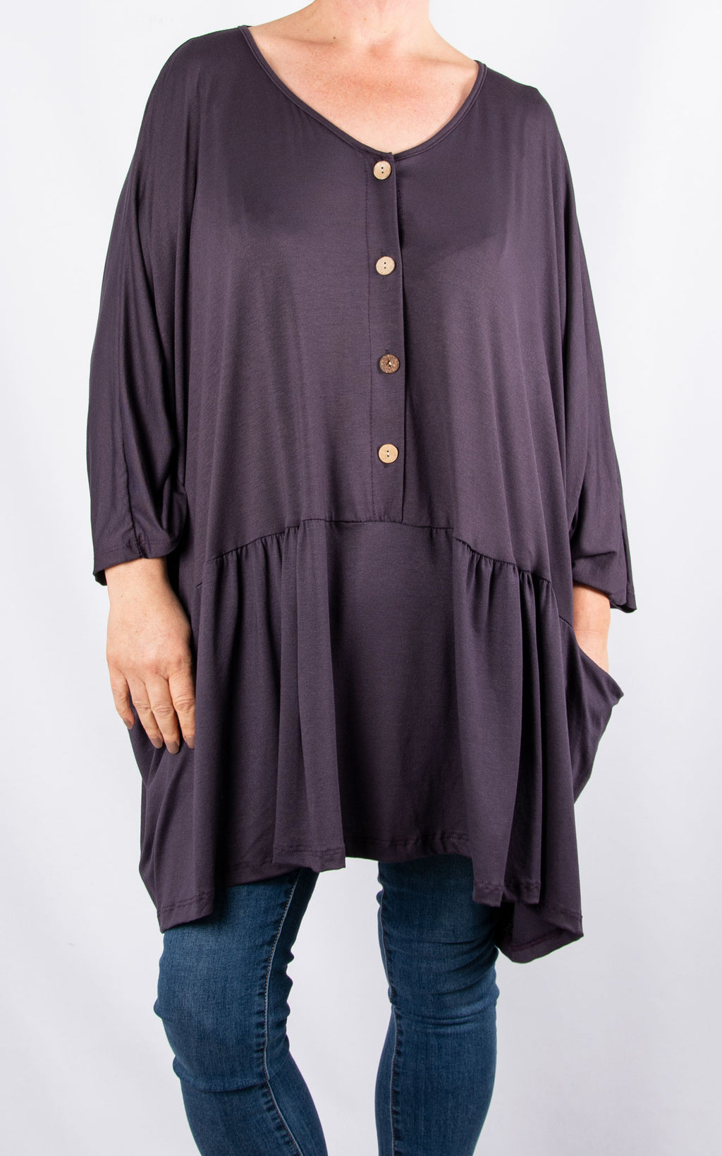 Donna Oversized Button Top|Purple