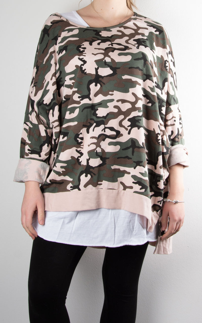 Double Layer Camo Sweat | Pink