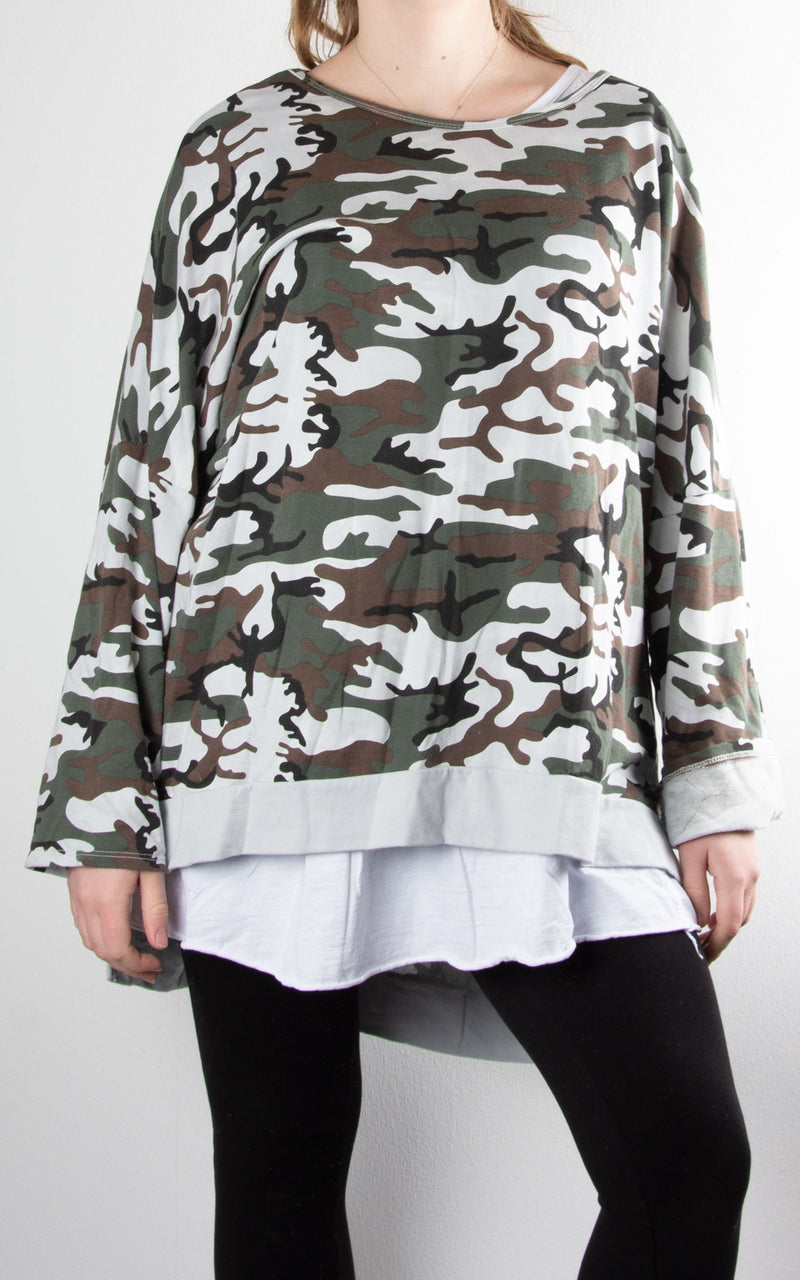 Double Layer Camo Sweat | White