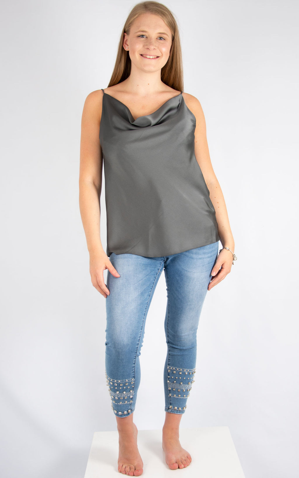 Charcoal Drape Vest | Made In Italy