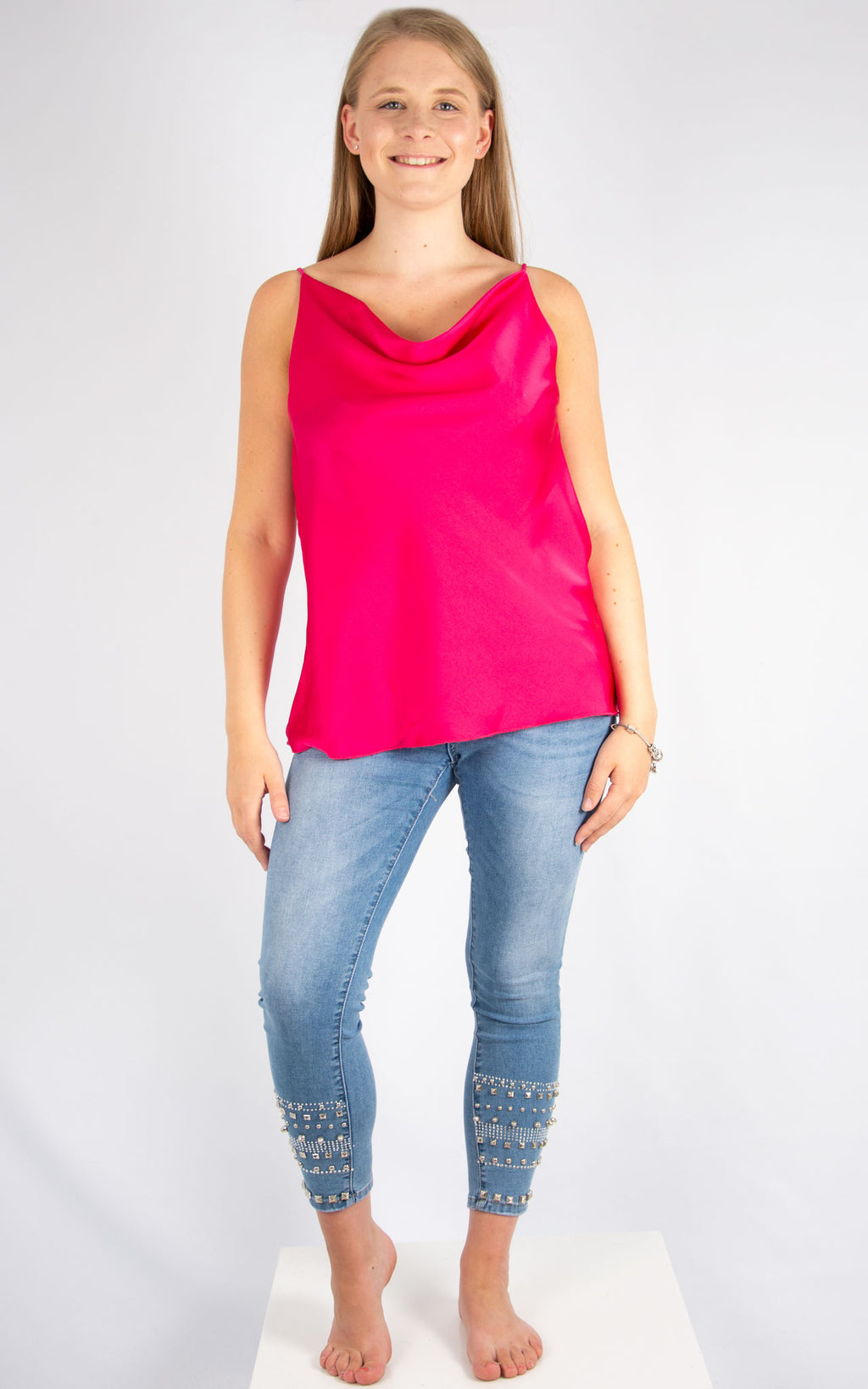Hot Pink Drape Vest | Made In Italy