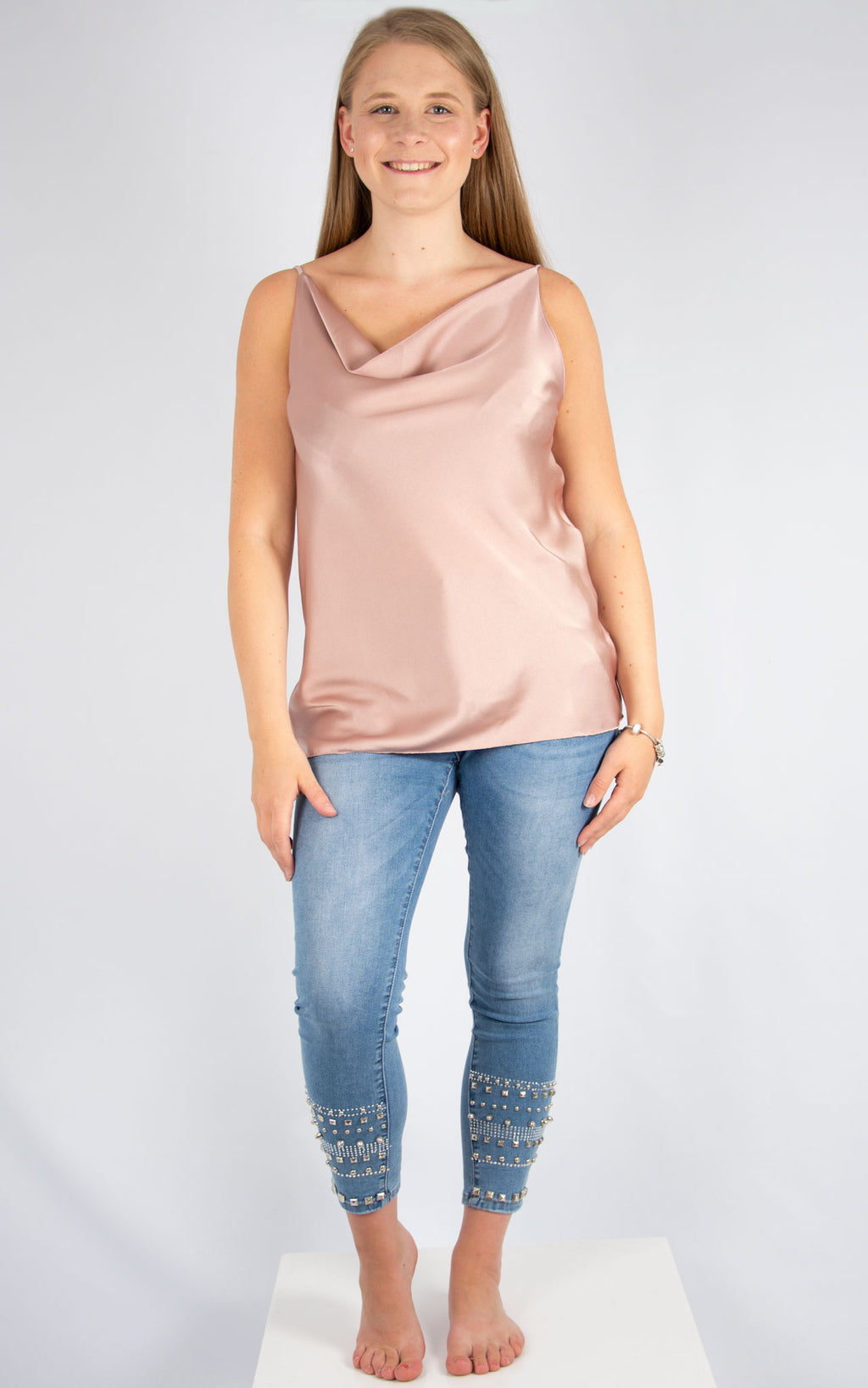 Dusky Pink Drape Vest | Made In Italy