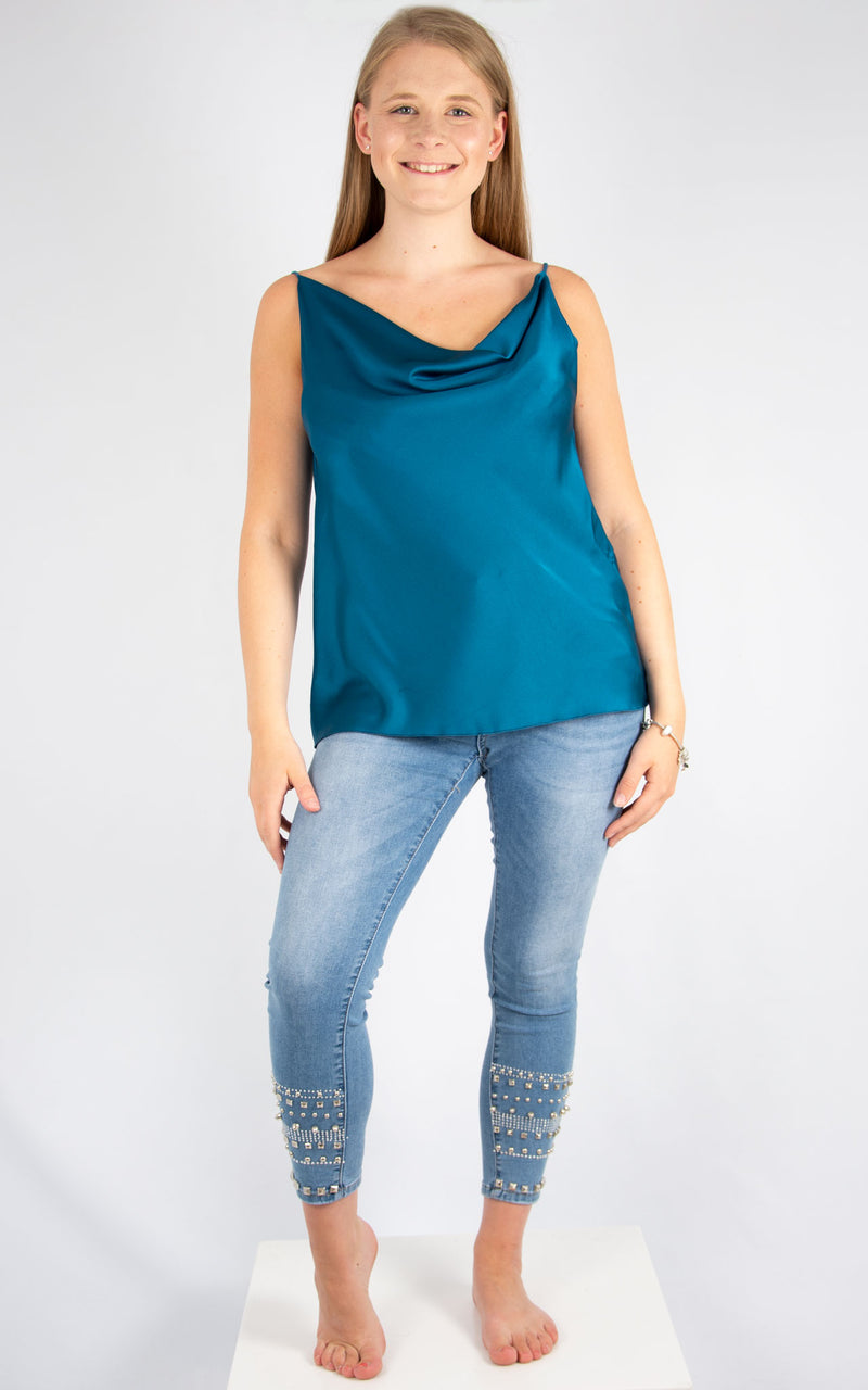 Teal Drape Vest | Made In Italy
