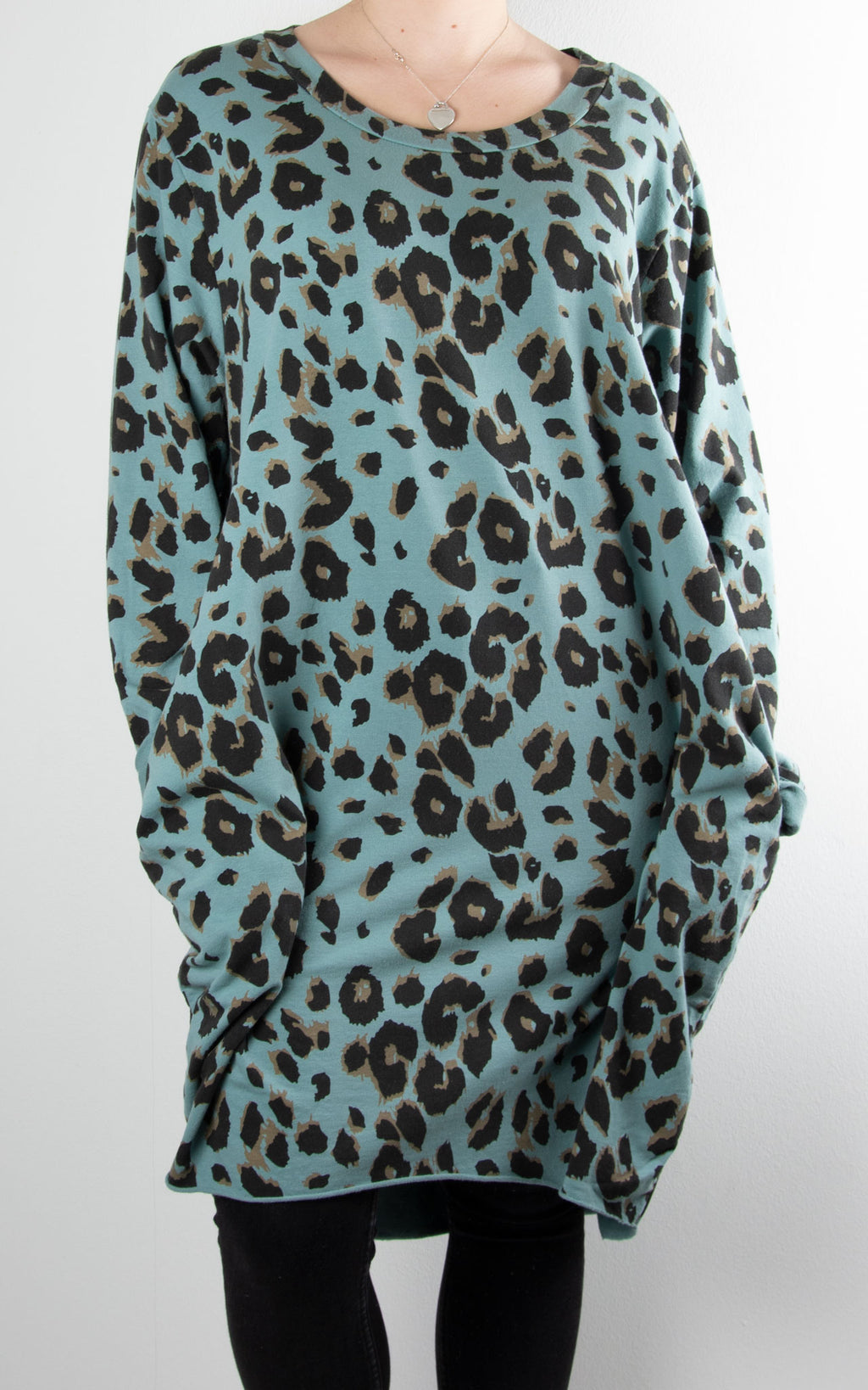 Evie Leopard Tunic | Sea Green