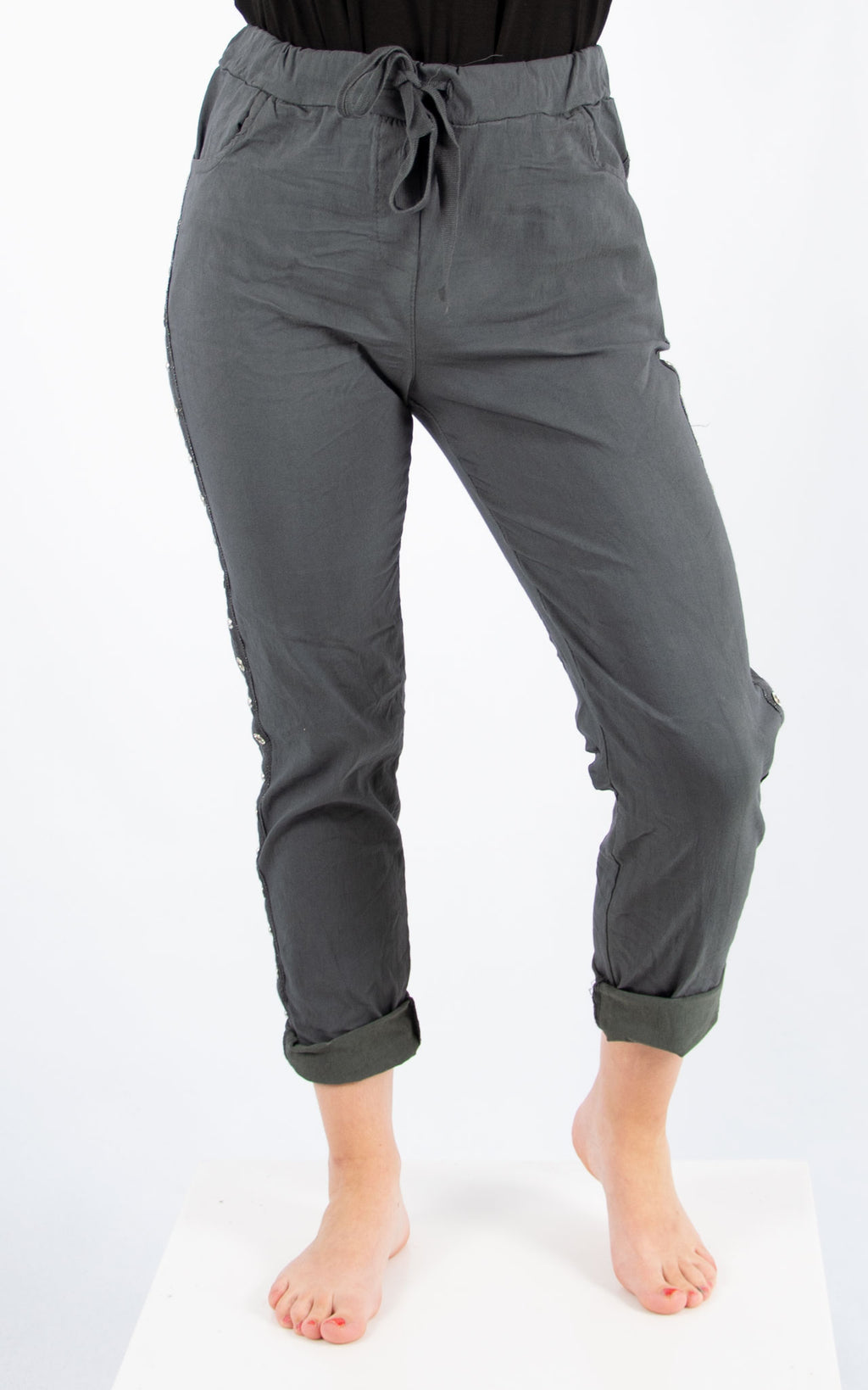 Magic Jogger : Charcoal Stud | Made In Italy