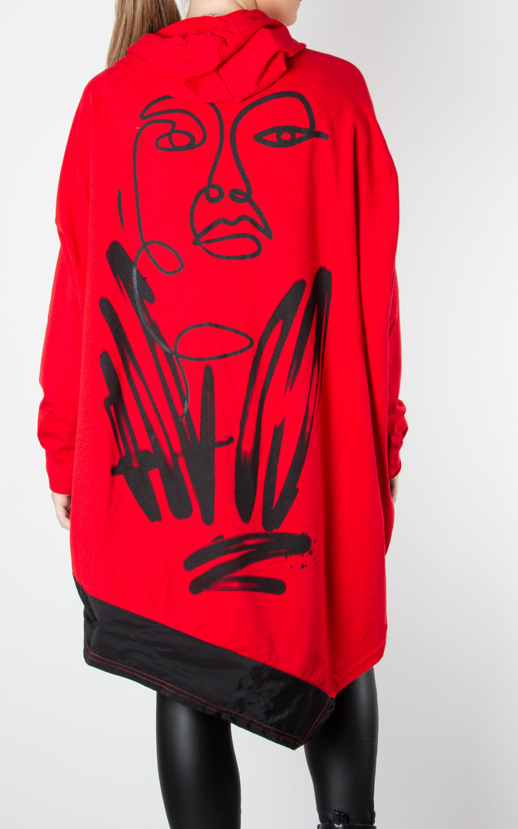 Face Back Hoodie | Red