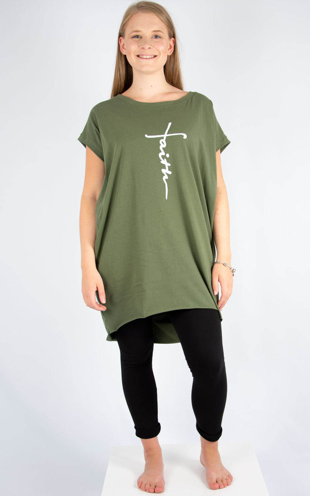 Khaki Faith T Shirt | Made In Italy