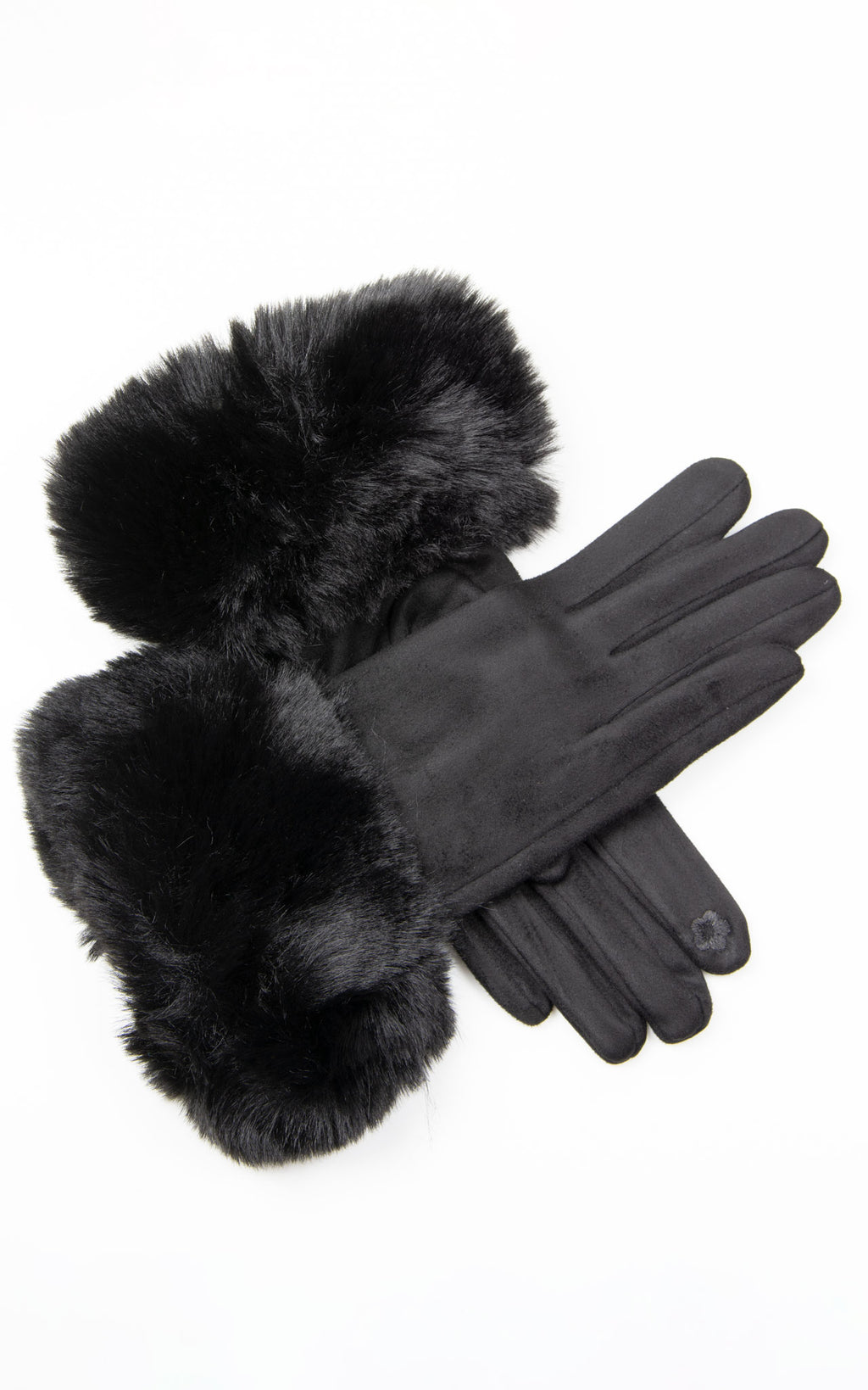 Faux Fur Gloves | Black