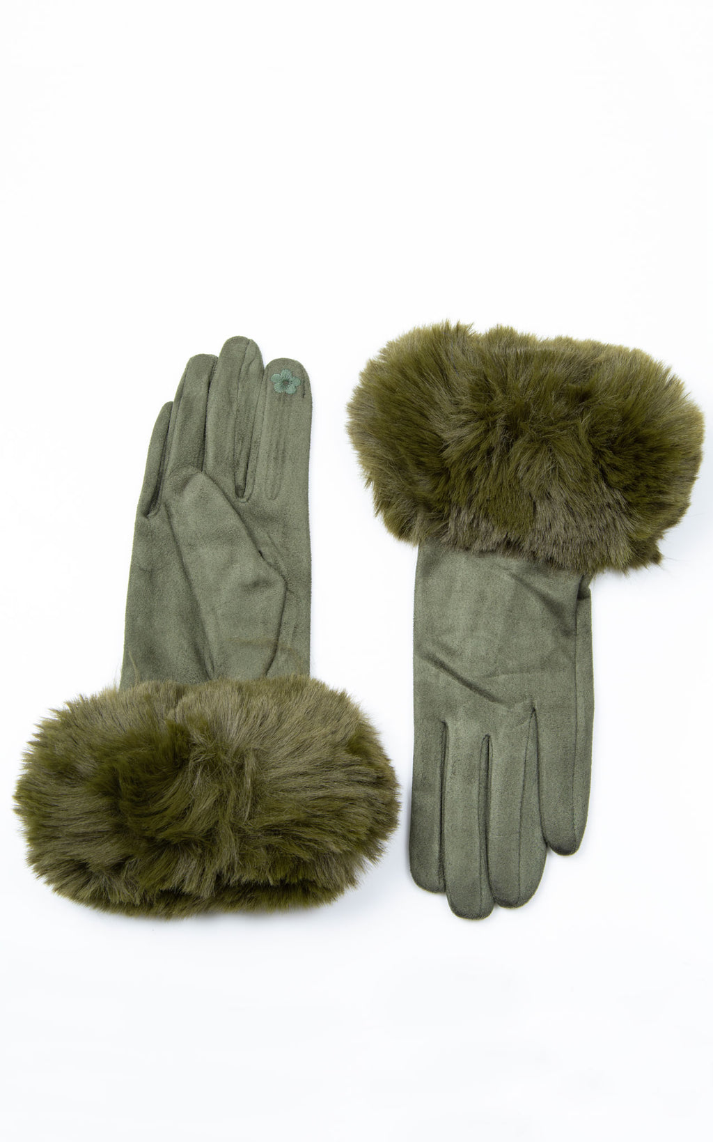 Faux Fur Gloves | Khaki