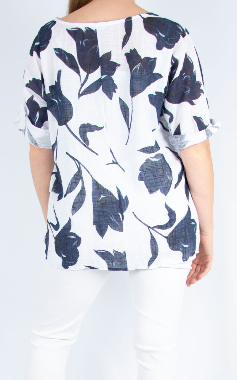 Navy & White Floral Top | Made in Italy
