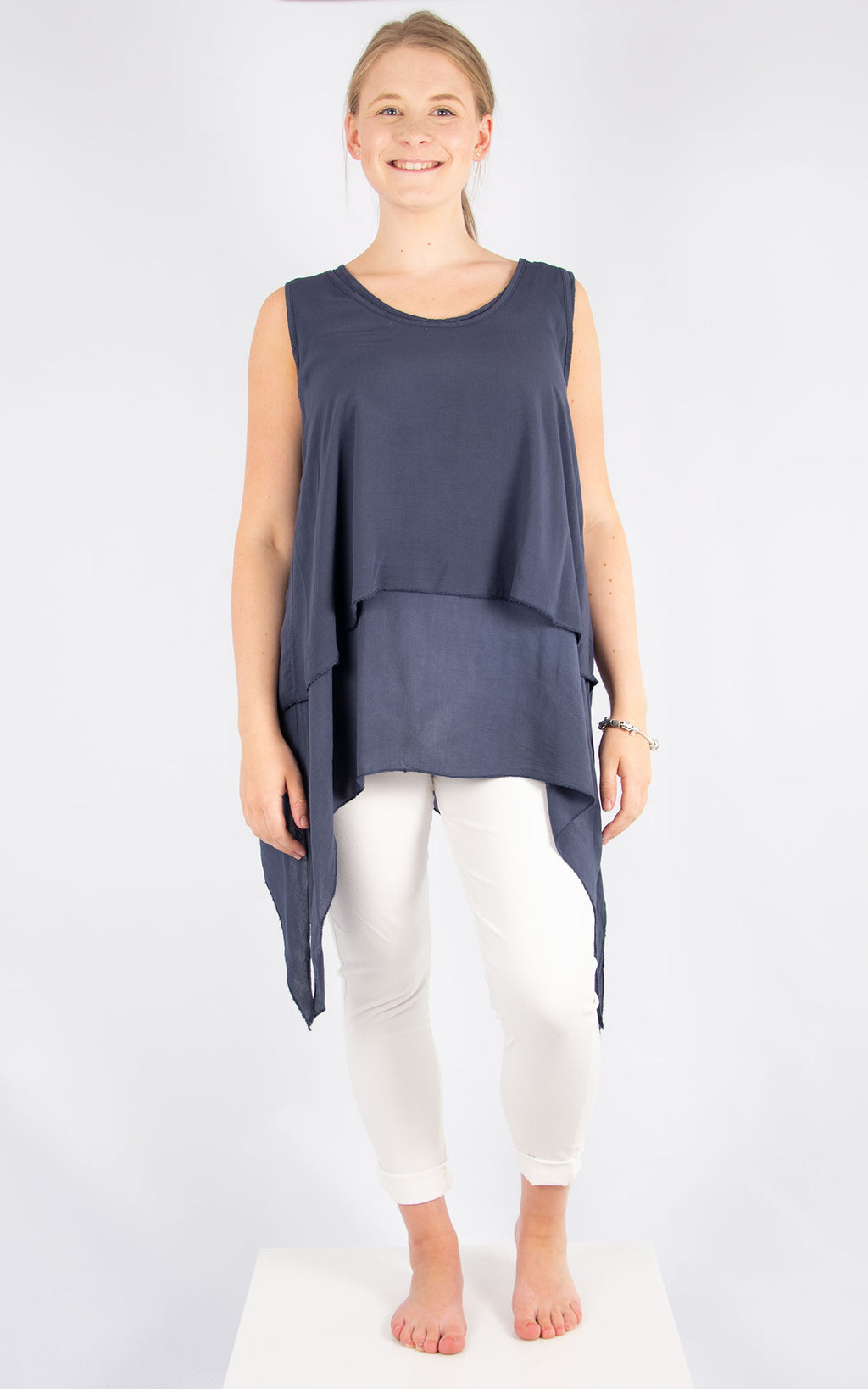 Navy Floaty Top | Made in Italy