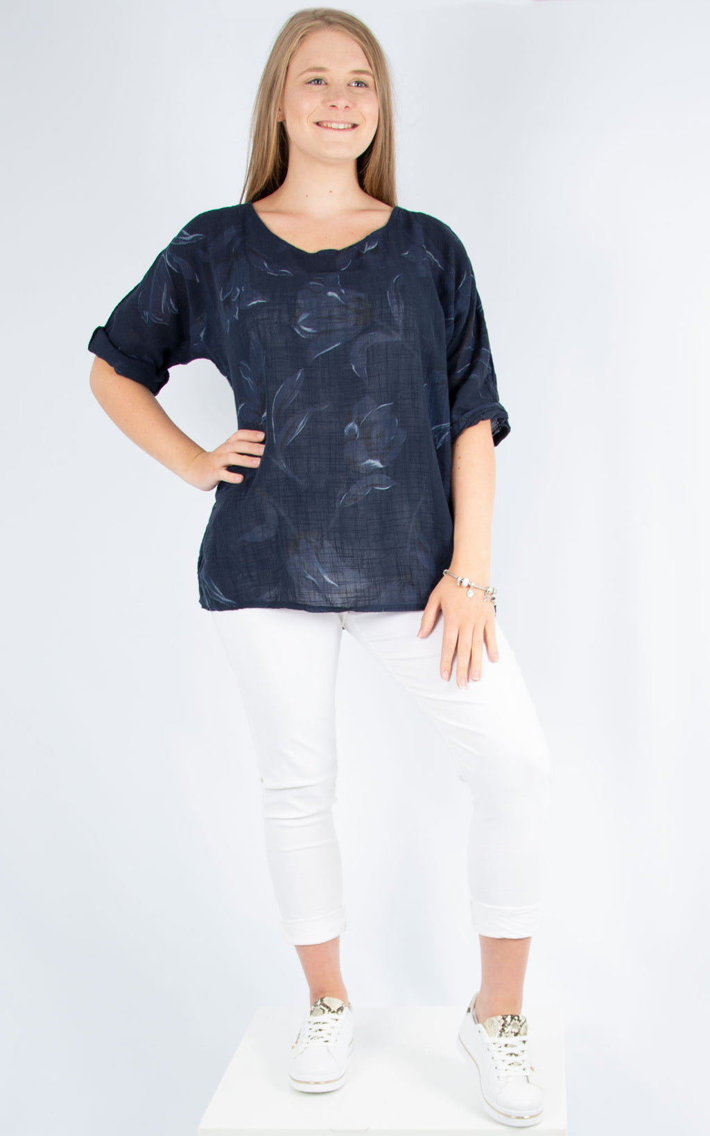 Navy Floral Top | Made in Italy
