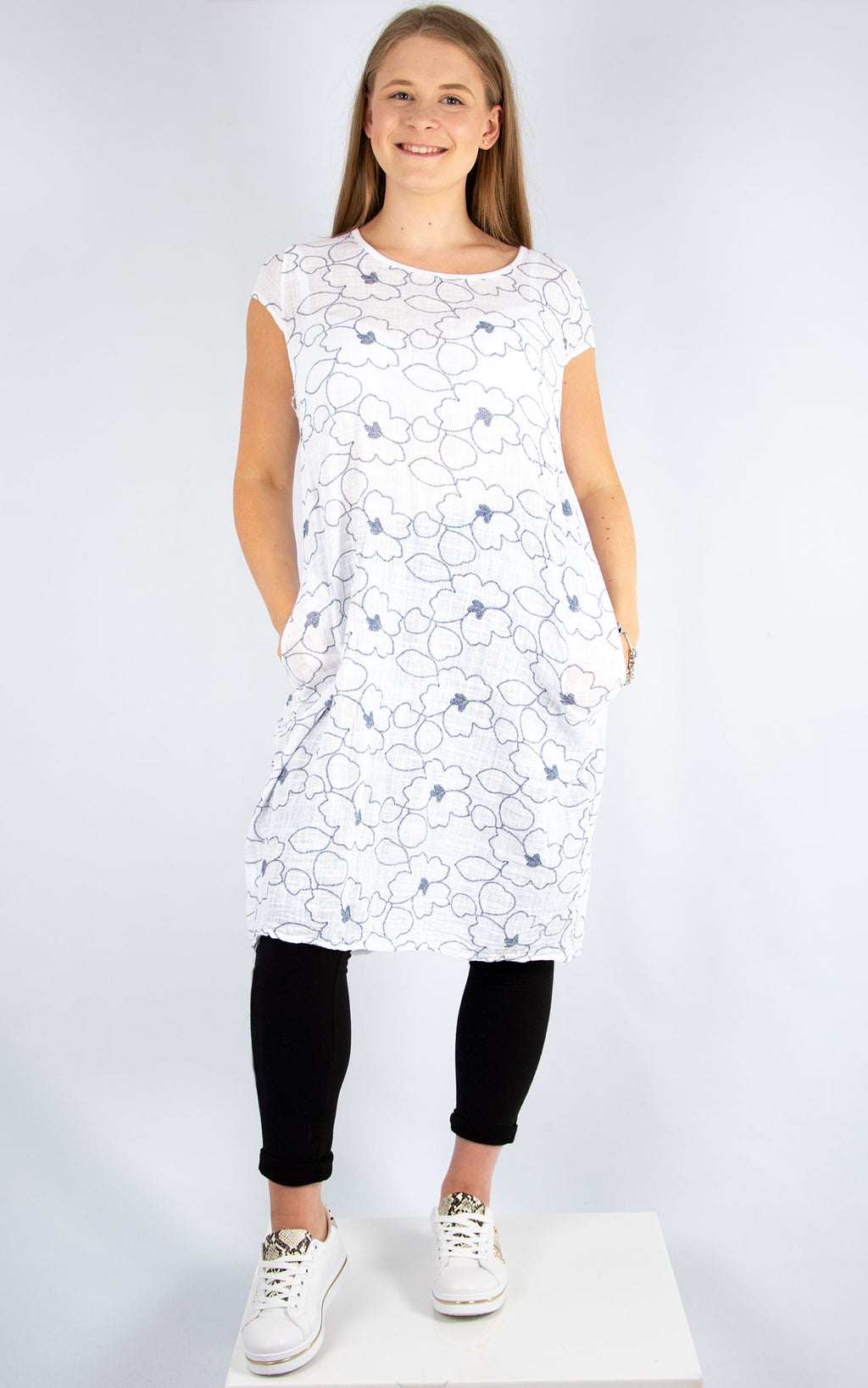 White & Navy Floral Dress | Made in Italy