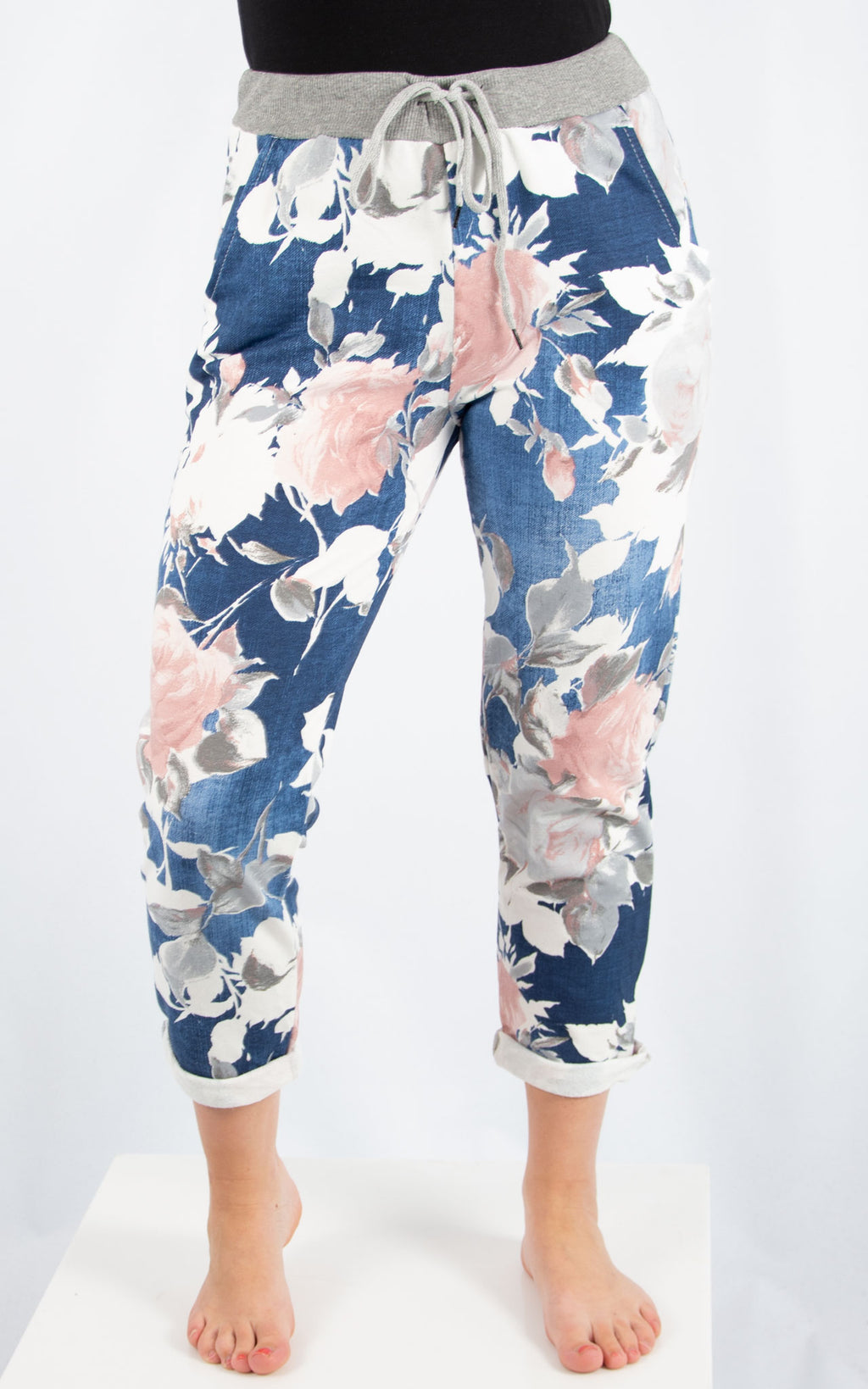 Denim Rose Print Jogger