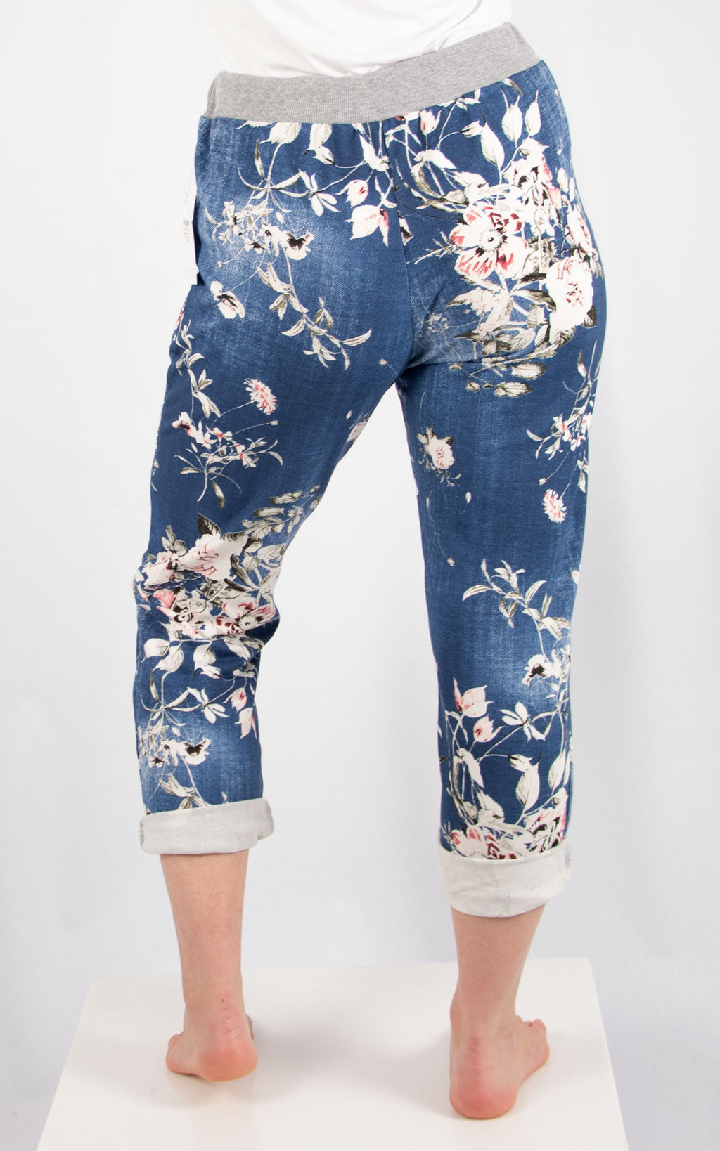 Denim Floral Print Jogger | Made In Italy