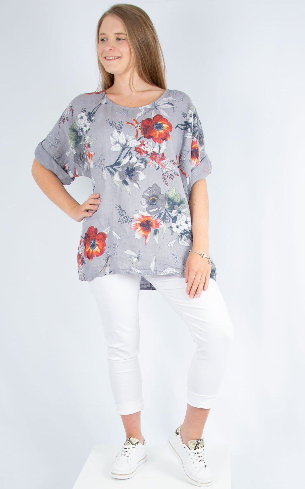 Grey Linen Floral Top | Made in Italy
