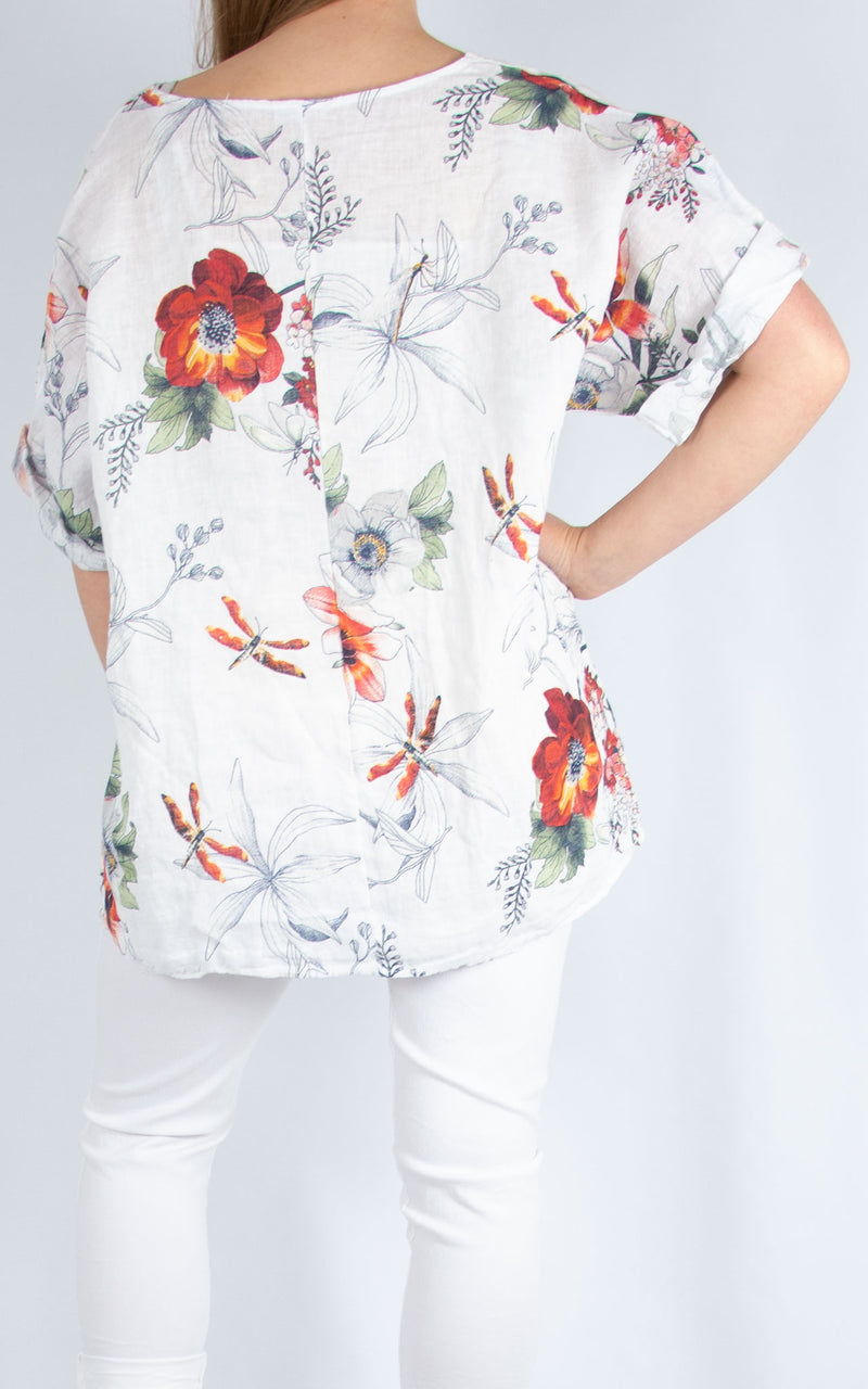 White Linen Floral Top | Made in Italy