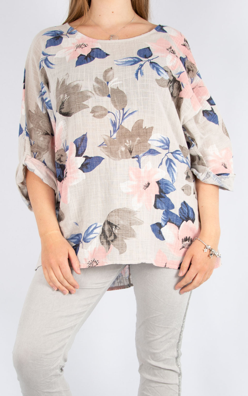 Beige Floral Cotton T | Made in Italy