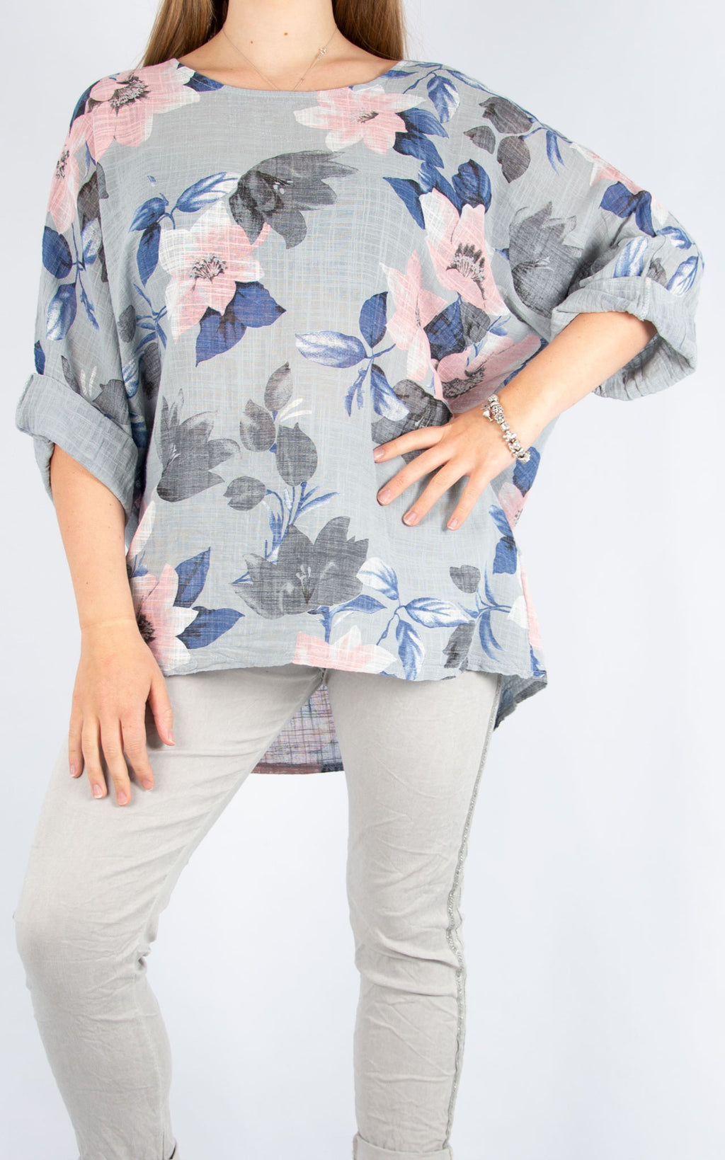 Grey Floral Cotton T | Made in Italy