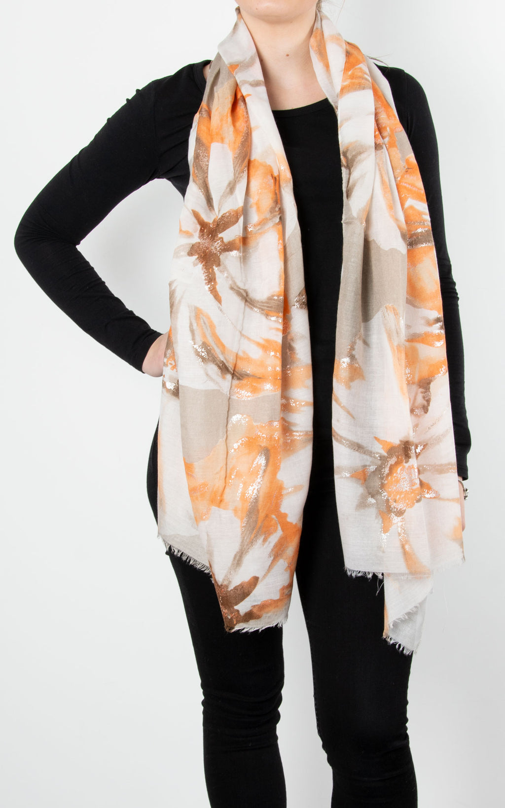 Scarf | Floral | Orange, Beige & Silver