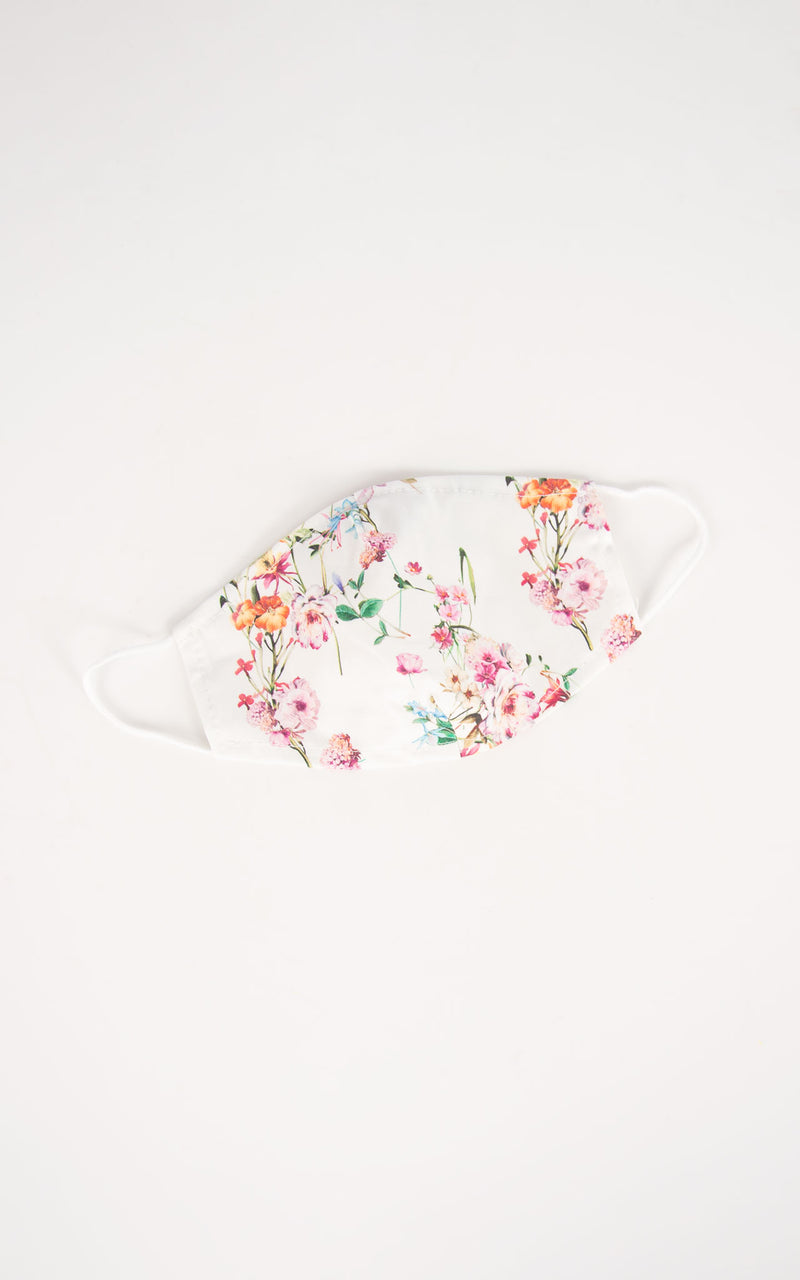 White Floral Face Covering