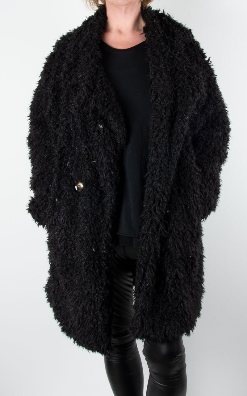 Fluffy Teddy Coat | Black