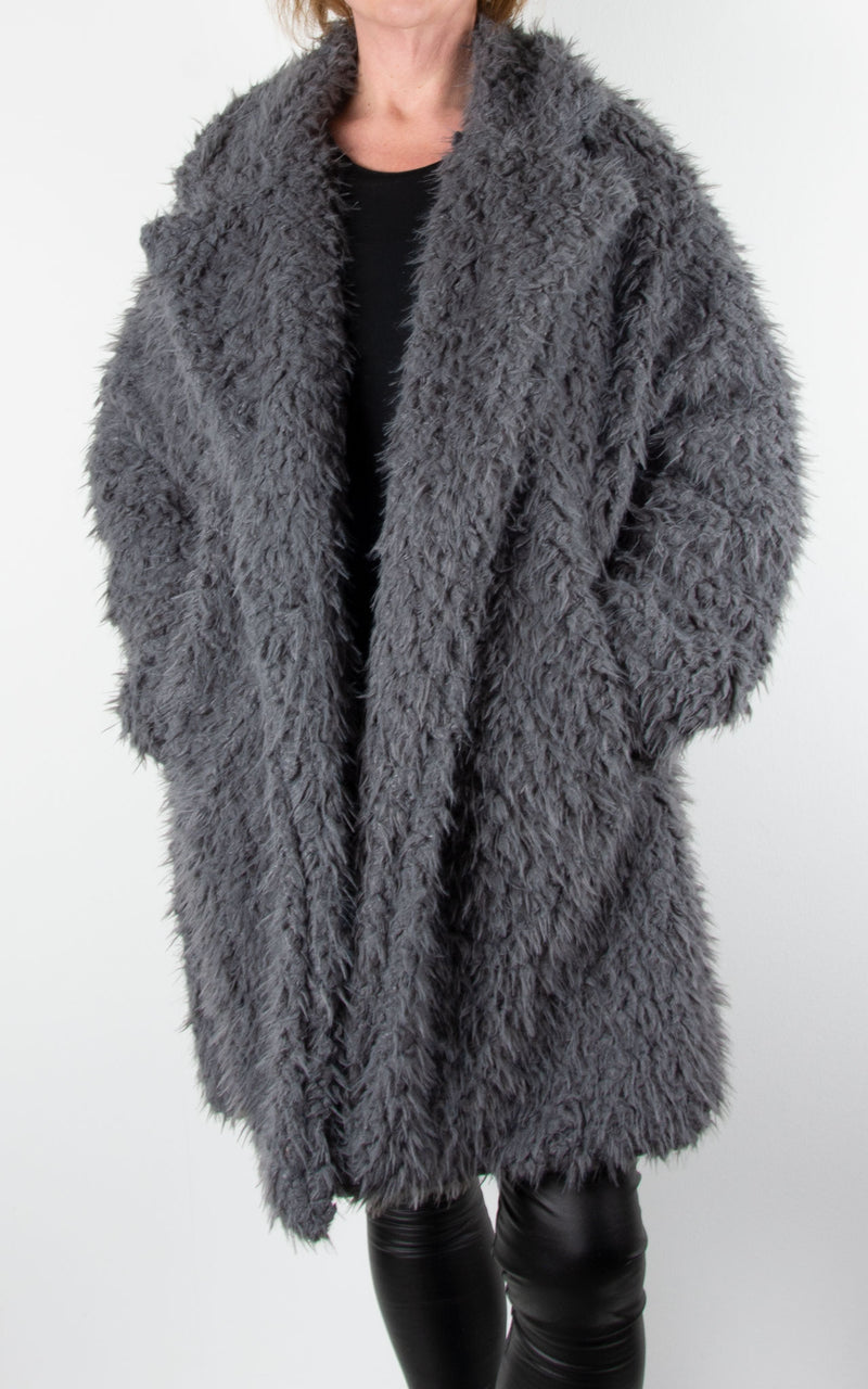 Fluffy Teddy Coat | Grey