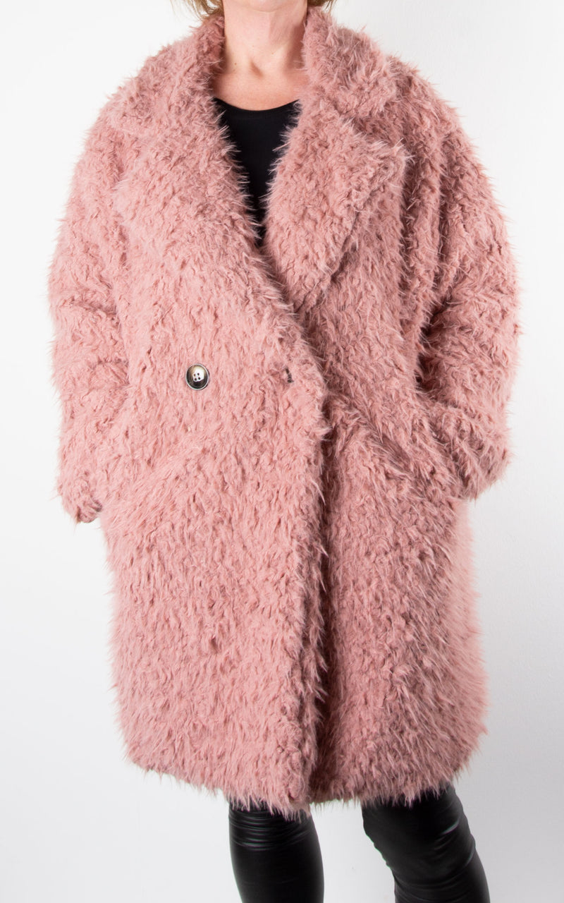 Fluffy Teddy Coat | Pink