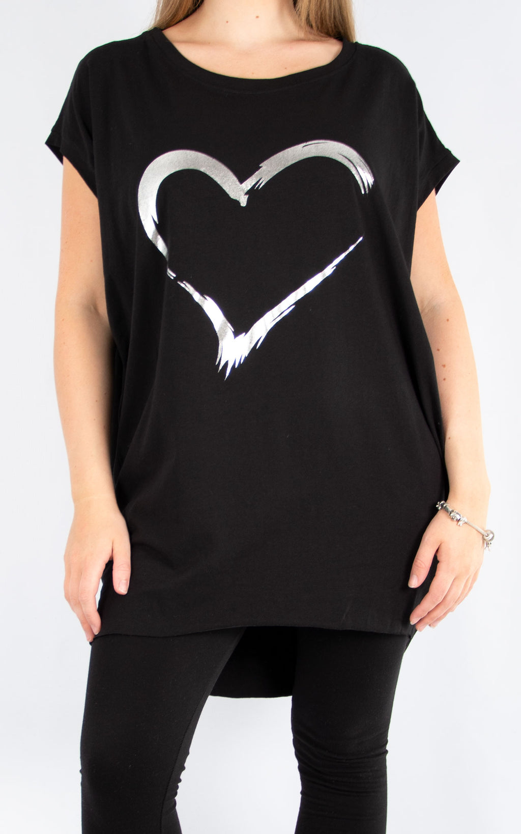 Black Foil Heart Tunic | Made in Italy