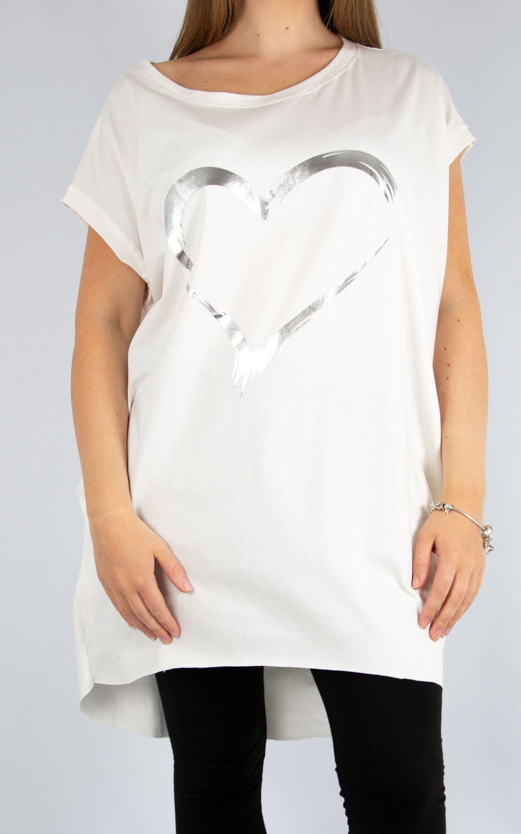 White Foil Heart Tunic | Made in Italy