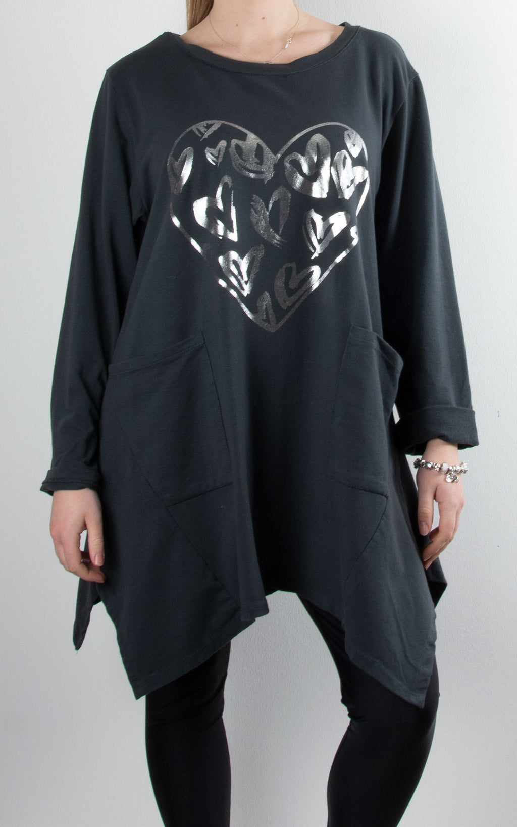 Foil Hearts Pocket Tunic | Charcoal