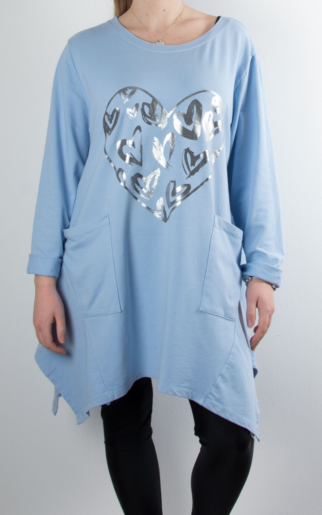 Foil Hearts Pocket Tunic | Sky Blue