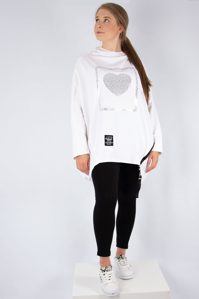 White Hooded Sweat Leopard Foil Heart | Made in Italy
