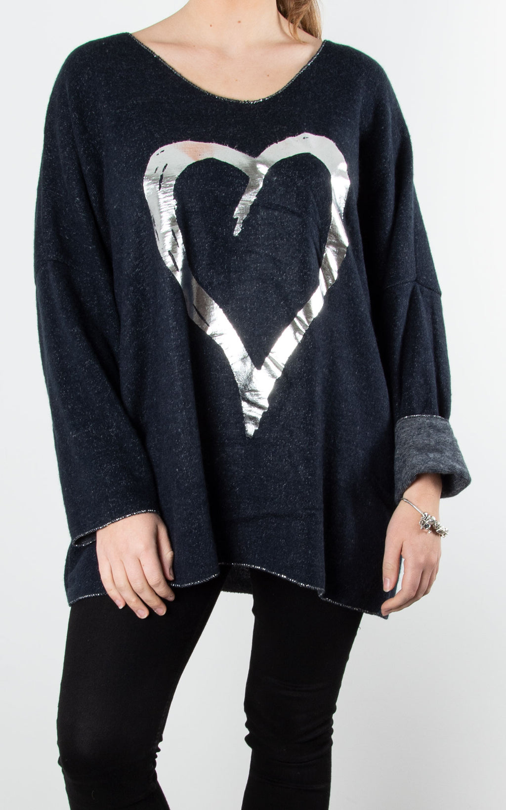 Foil Heart Fleece Top | Navy