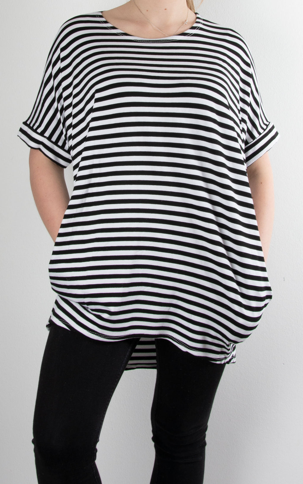 Fold Sleeve T | Black Stripe