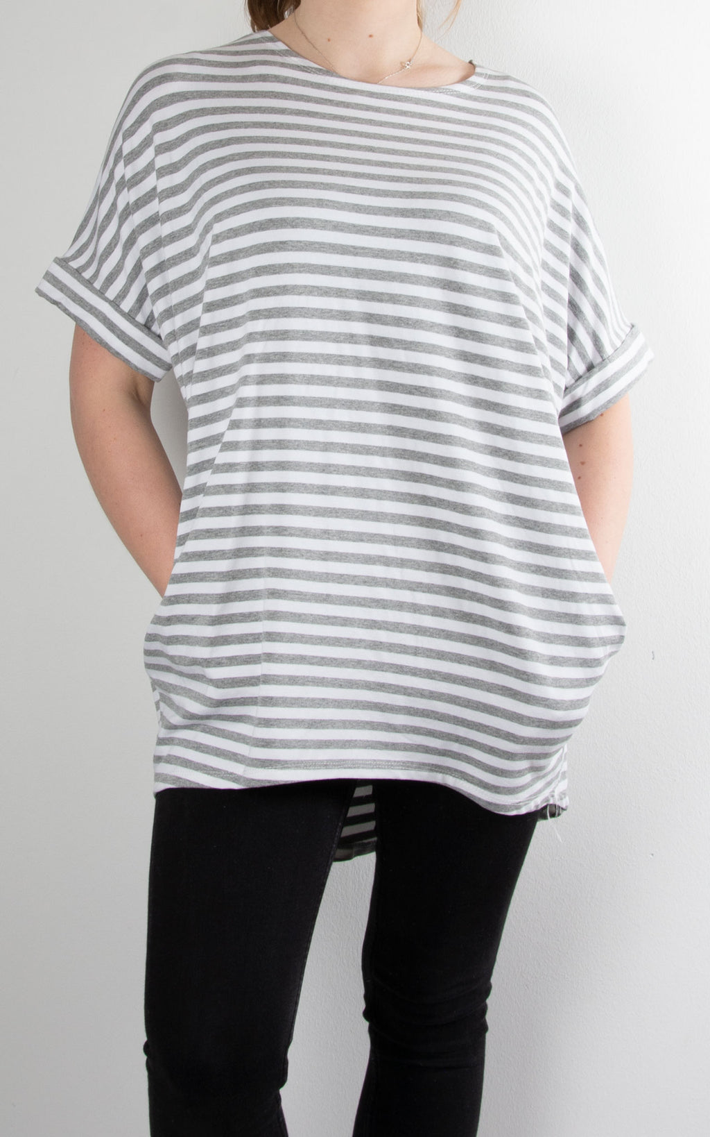 Fold Sleeve T | Grey Stripe