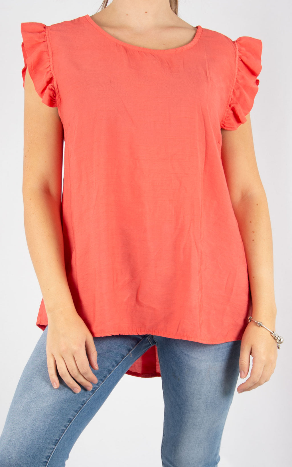 Coral Sophie Frill Sleeve