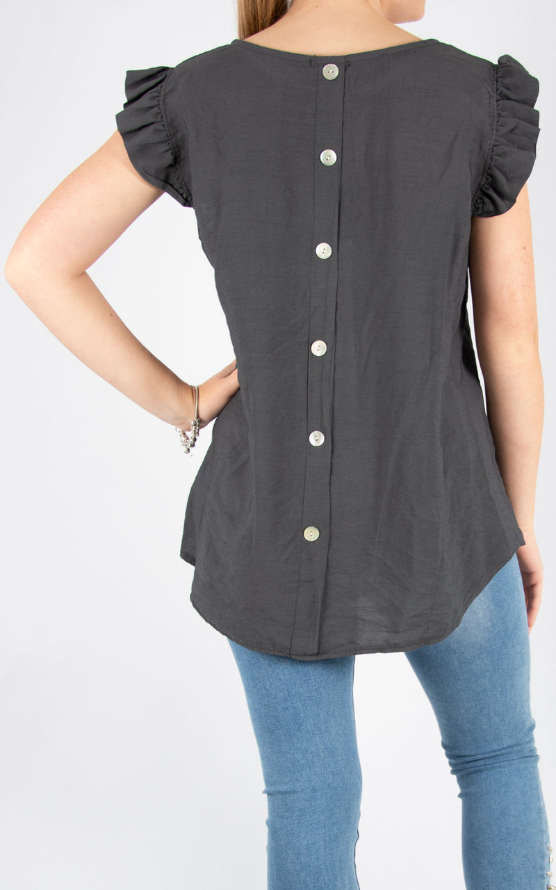 Charcoal Sophie Frill Sleeve