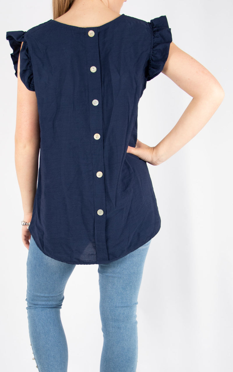 Navy Sophie Frill Sleeve