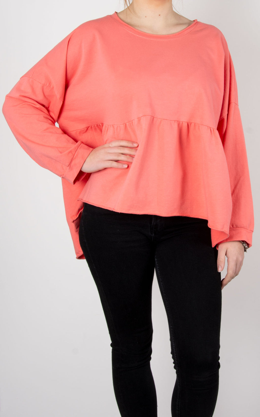 Frill Crop Sweat | Coral