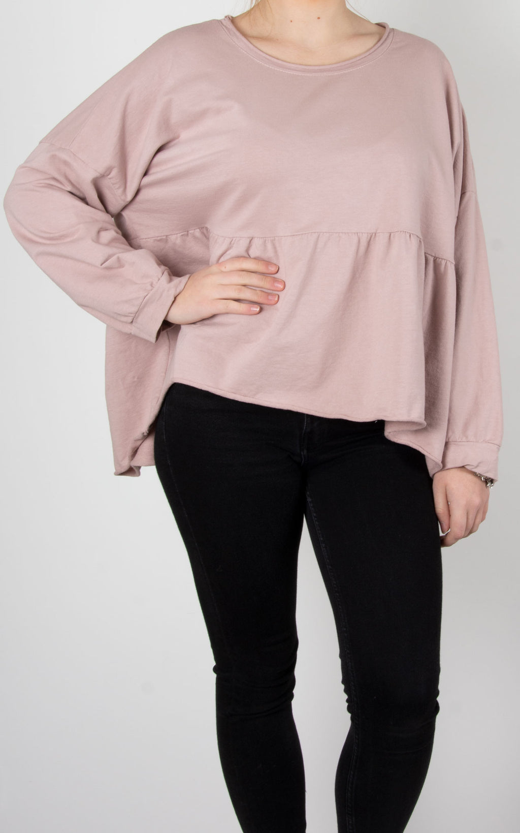 Frill Crop Sweat | Pink